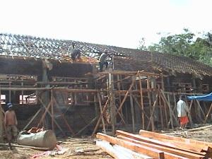 Gedung sekolah SMPN 2 Subang - dalam tahap pembangunan
