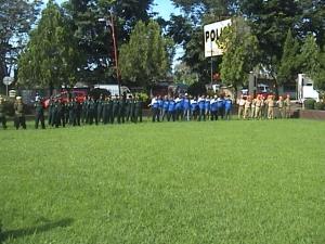Pasukan peserta Apel Satgas di Halaman Mapolres KUningan