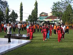 senam Sajojo bersama di halaman Mapolres Kuningan