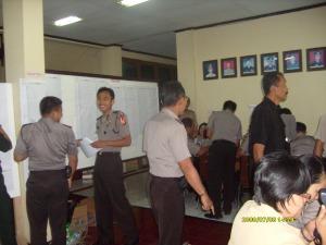 Kapolres memberikan APP kepada anggota yg melaksanakan tugas jaga di KPUD